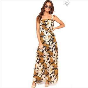 Dresses & Skirts - Floral Maxi Dress Chiffon Tank Belted Boho Jumper